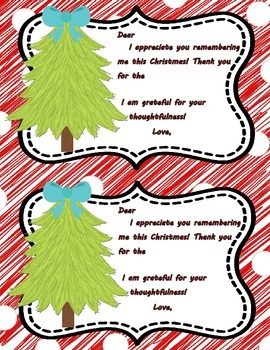 Christmas Thank You Notes **FREEBIE**