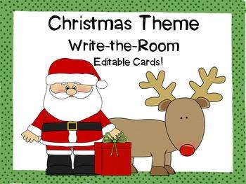 Christmas Theme Write-the-Room {Editable!}
