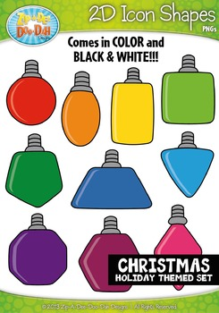 Christmas Themed 2D Icon Shapes Clipart Set — Includes 20