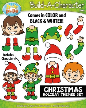 Christmas Themed Build-A-Character Clipart Set — Includes