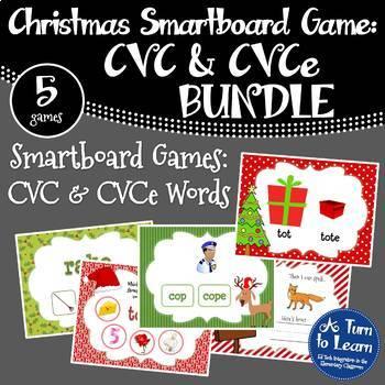 Christmas Themed CVC and CVCe Words BUNDLE of Smartboard/P