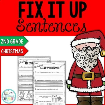 Christmas Editing Sentences: Second Grade, Capitalization,