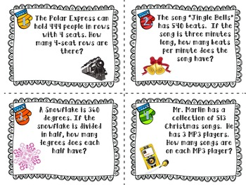 Christmas Themed Long Division Task Cards