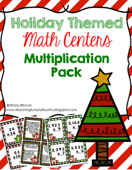 Holiday Themed Multiplication Math Center {Task Cards}