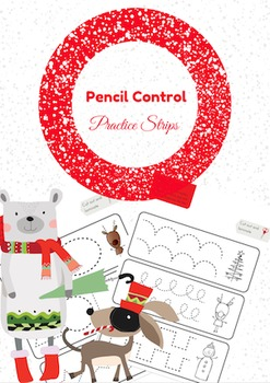 Christmas Themed Pencil Control Practice Strips