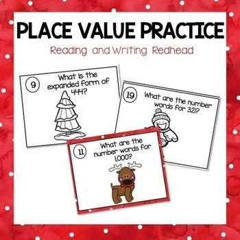 Christmas Themed Place Value Practice for 2NBT3 {Common Co