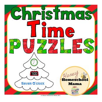 Christmas Themed Time Puzzles Practicing Analog, Digital,