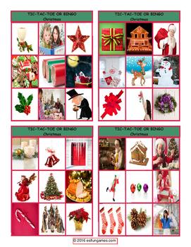 Christmas Tic-Tac-Toe or Bingo Board Game