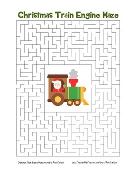 """""""Christmas Train Engine"""" Maze! Holiday FUN! (Color and Bla"""
