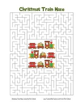 """Christmas Train"" Maze! Holiday FUN! (Color and Black Line)"