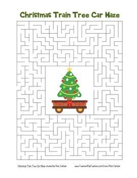 """Christmas Train Tree Car"" Maze! Holiday FUN! (Color and B"
