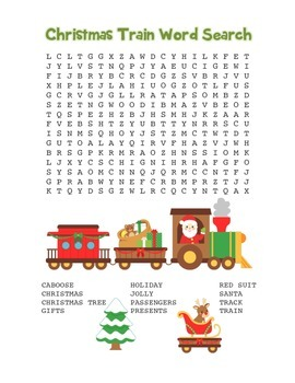 """""""Christmas Train"""" Word Search – Holiday Fun! (Color and Bl"""