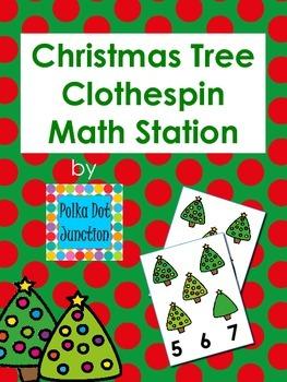 Christmas Tree Clothespin Math Station