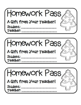 """Christmas Tree Cookie"" Homework Pass –Holiday FUN! (black"