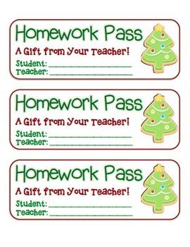 """Christmas Tree Cookie"" Homework Pass –Holiday FUN! (full"