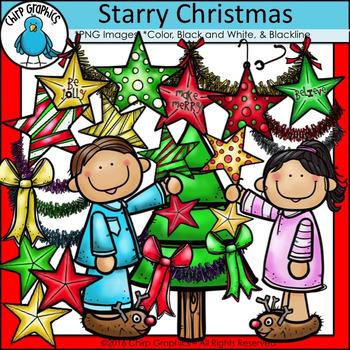 Starry Christmas Clip Art Set - Chirp Graphics