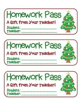 """Christmas Tree"" Homework Pass –Holiday FUN! (full color &"