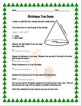 Christmas Tree Ice Cream Cones - Math Surface Area