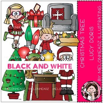 Melonheadz: Christmas Tree Lucy Doris clip art - BLACK AND WHITE