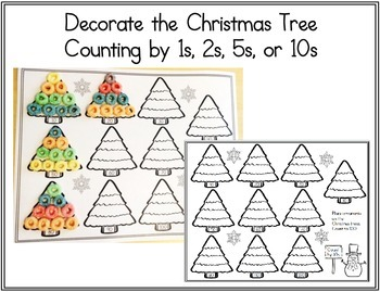 (FREE) Christmas Tree Ornaments Counting Worksheet: 1s, 2s