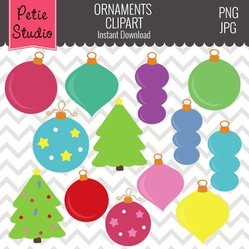 Christmas Tree Ornaments // Ornaments Clipart // Christmas