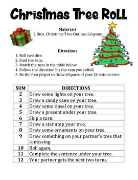 Christmas Tree Roll - A Math and Art Activity to Practice