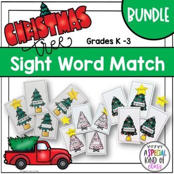 Christmas Tree Sight Word Match Bundle