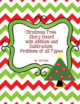 Christmas Tree Story Board: addition and subtraction story