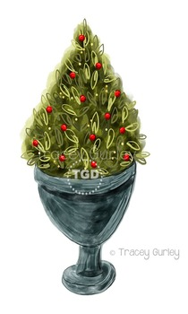 Christmas Tree Topiary in Urn clip art, Printable Tracey G
