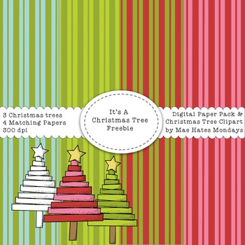 Christmas Tree Clipart and Matching Striped Digital Paper