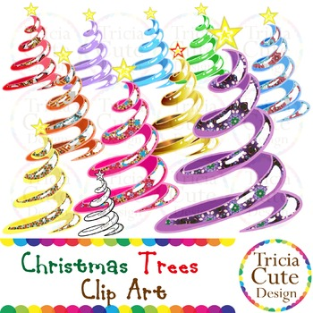 Christmas Trees Clip Art - Rainbow Colors & Patterned