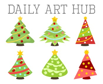 Christmas Trees Clip Art - Great for Art Class Projects!