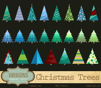 Christmas Trees Vector and PNG Clipart