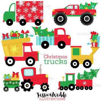 Christmas Trucks Cute Digital Clipart, Christmas Graphics