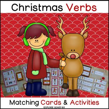 Christmas Verb Fun / Interactive Matching Cards & Activiti