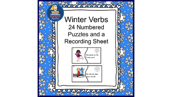 Winter Verbs  Literacy Center Idea