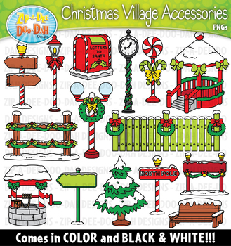 Christmas Village Winter Holiday Accessories Clipart Set —