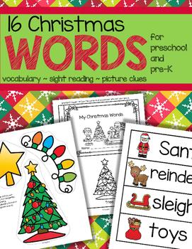 Christmas Vocabulary Activities for Preschool and Pre-K