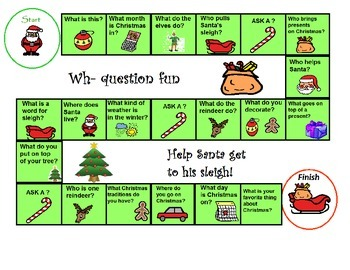 Christmas WH Question game Special Education