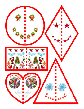 Christmas Winter Halves Shapes Circle Rhombus Rectangle Tr