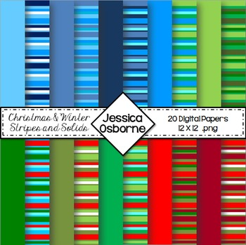 Christmas Stripes Digital Paper