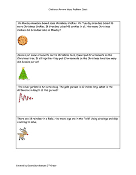 Christmas Word Problems