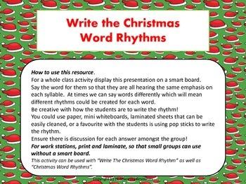 Christmas Word Rhythms Whole Class