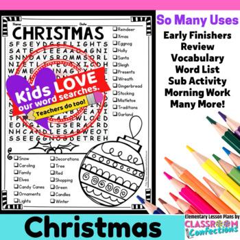 Christmas Activity: Christmas Vocabulary: Christmas Word Search