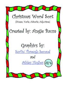 Christmas Word Sort Nouns, Verbs, Adverbs, Adjectives