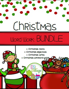 Christmas Word Work {Nouns, Adjectives, Verbs, Compound Words}