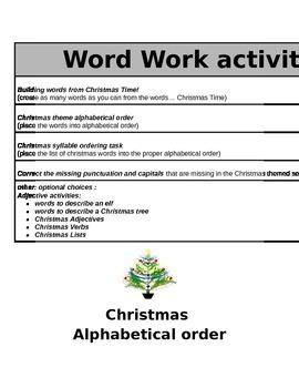 Christmas Word Works Activities