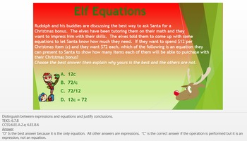 Christmas Work the Words (WtW) 6th Grade Word Problems Exp