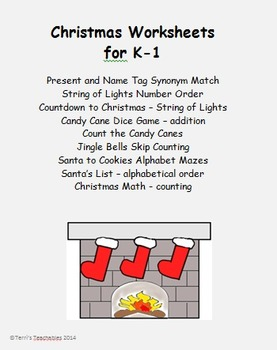 K-1 Christmas - worksheets, activity, and game