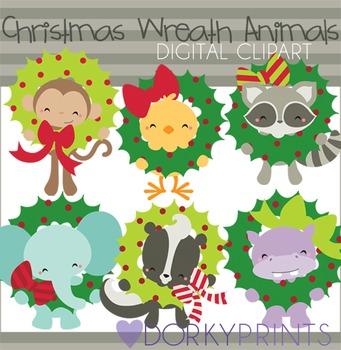 Christmas Wreath Animals Digital Clip Art